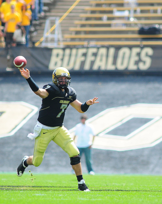 06 September 08: Colorado quarterback Cody Hawkins (7) throws a pass against Eastern Washington. The Colorado Buffaloes defeated the Eastern Washington Eagles 31-24 at Folsom Field in Boulder, Colorado. FOR EDITORIAL USE ONLY