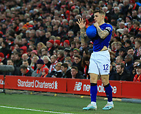 5th January 2020; Anfield, Liverpool, Merseyside, England; English FA Cup Football, Liverpool versus Everton; Lucas Digne of Everton wipes the ball on his shirt before taking a throw in - Strictly Editorial Use Only. No use with unauthorized audio, video, data, fixture lists, club/league logos or 'live' services. Online in-match use limited to 120 images, no video emulation. No use in betting, games or single club/league/player publications