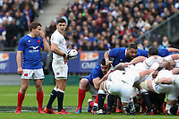 2nd February 2020, Stade de France, Paris; France, 6-Nations International rugby union, France versus England;  Antoine Dupont (France) watches as Ben Youngs (Eng) readies to put into the scrum