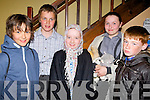 COSTUME: In costume ready to put on their act were the pupils from Gaeilscoil, Aogain, Castleisland, on Friday night in the Ivy Theatre, Castleisland, l-r: Jack Brosnan-Reidy, Luka Brosnan, LeannaSugrue, Síofra O'Connor and Jamie Heffernan.