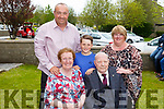 Tom Foley of Kerins Park celebrating his 90th birthday at home on Monday with his wife, son, grandson and his daughter in law.<br /> Seated l to r: Pat and Tom Foley,<br /> Standing l to r: Ger, Jayden and Cathriona Foley.
