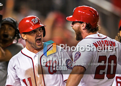 7 October 2017: Washington Nationals first baseman Ryan Zimmerman celebrates hitting a three-run, go-ahead home-run in the 8th inning of the second NLDS game against the Chicago Cubs at Nationals Park in Washington, DC. The Nationals defeated the Cubs 6-3 and even their best of five Postseason series at one game apiece. Mandatory Credit: Ed Wolfstein Photo *** RAW (NEF) Image File Available ***