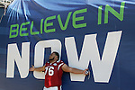 Arizona Cardinals lineman Deuce Lutui lets the weight of the season off his shoulders before Super Bowl Media Day in Tampa, Florida on February 27, 2009
