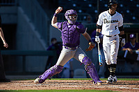 Furman Paladins catcher Logan Taplett (7) makes a throw to second base against the Wake Forest Demon Deacons at BB&T BallPark on March 2, 2019 in Charlotte, North Carolina. The Demon Deacons defeated the Paladins 13-7. (Brian Westerholt/Four Seam Images)