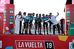 "Astana Pro team wins Stage 1 of La Vuelta 2019 by 2"", a team time trial running 13.4km from Salinas de Torrevieja to Torrevieja, Spain. 24th August 2019.<br /> Picture: Colin Flockton 