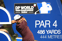 Alexander Levy (FRA) on the 16th tee during the final round of the DP World Tour Championship, Jumeirah Golf Estates, Dubai, United Arab Emirates. 18/11/2018<br /> Picture: Golffile | Fran Caffrey<br /> <br /> <br /> All photo usage must carry mandatory copyright credit (© Golffile | Fran Caffrey)