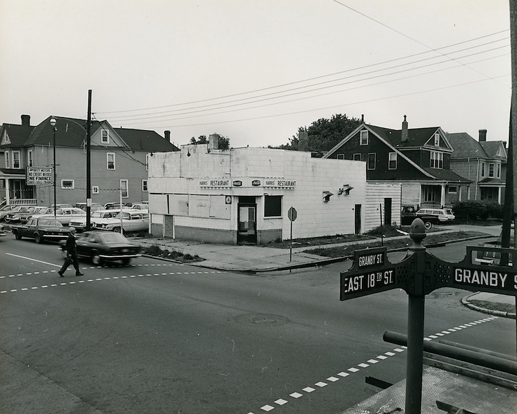 1968  May  15..Ghent      ..SW corner of 18th & Granby Street looking toward Harris Restaurant..Sam McKay.NEG# SLM68-39-55..