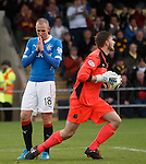 Kenny Miller's shot is saved by keeper Danny Rogers