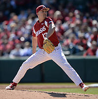 NWA Democrat-Gazette/ANDY SHUPE<br /> Arkansas starter Connor Noland delivers to the plate against Missouri Saturday, March 16, 2019, during the first inning at Baum-Walker Stadium in Fayetteville. Visit nwadg.com/photos to see more photographs from the game.