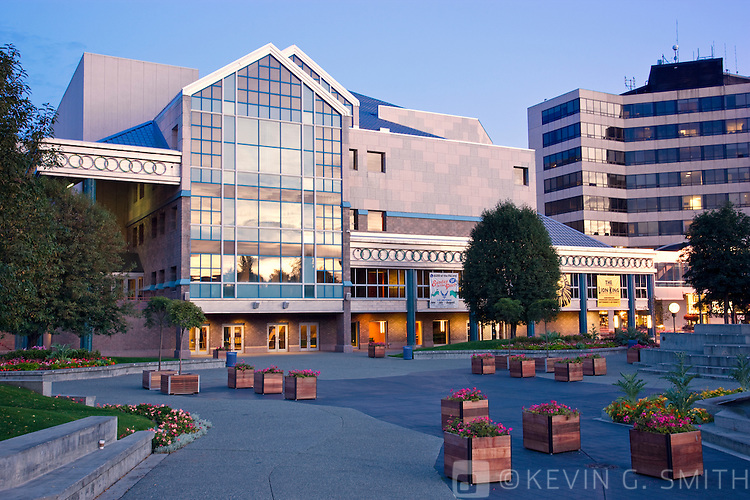 Town Square in downtown Anchorage, early morning, summer, Southcental Alaska, USA.