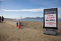 "An ""Area Closed, Oil Spill"" sign stands in front of the beach at Crissy Field in San Francisco (11/12/07). On November 7, 2007 the Cosco Busan container ship spilled an estimated 58,000 gallons of bunker fuel into San Francisco Bay after striking a tower of the San Francisco-Oakland Bay Bridge."