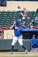 J.C. Boscan (7) of the Omaha Storm Chasers at bat against the Memphis Redbirds in Pacific Coast League action at Werner Park on April 22, 2015 in Papillion, Nebraska.  (Stephen Smith/Four Seam Images)