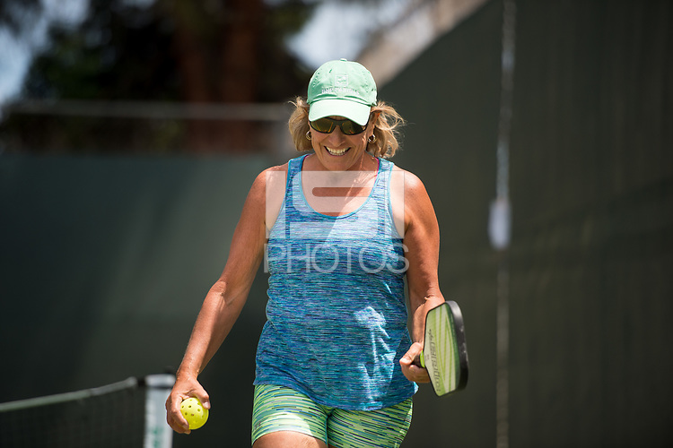 Palo Alto, Ca - Saturday, May 5, 2018: Pickle Ball at the 2018 Bay Area Senior Games at Mitchell Park.
