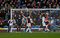 30th November 2019; Turf Moor, Burnley, Lanchashire, England; English Premier League Football, Burnley versus Crystal Palace; Burnley keeper Nick Pope and Jack Cork appeal as Jordan Ayew of Crystal Palace puts the ball into the net after 38 minutes but it is disallowed by VAR - Strictly Editorial Use Only. No use with unauthorized audio, video, data, fixture lists, club/league logos or 'live' services. Online in-match use limited to 120 images, no video emulation. No use in betting, games or single club/league/player publications