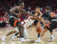 NWA Democrat-Gazette/BEN GOFF @NWABENGOFF <br /> Jalen Harris (5) of Arkansas takes a spill amidst Tusculum defenders in the first half Friday, Oct. 26, 2018, during an exhibition game in Bud Walton Arena in Fayetteville.