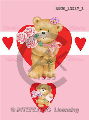 Stephen, VALENTINE, paintings, bear, roses, heart(GBUK13517/1,#V#) stickers illustrations, pinturas ,everyday