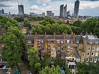 Central london from Kennington Road. Aerial drone photo