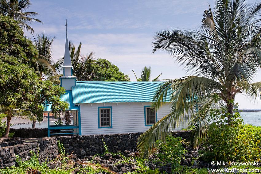 "St. Peter's by the Sea Catholic Church aka ""Little Blue Church"" in Kailua-Kona, Big Island, Hawaii"