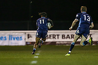 Elliott OBATOYINBO of London Scottish intercepts an Ealing Trailfinders pass to score a try during the Championship Cup match between London Scottish Football Club and Ealing Trailfinders at Richmond Athletic Ground, Richmond, United Kingdom on 23 November 2018. Photo by David Horn/PRiME Media Images