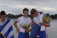 Brandenburg, GERMANY, GBR M2- left Ben SMITH and Charles LAUGTON,  Bronze medalist in the men's pair, at the  2008 FISA U23 World Rowing Championships, Sunday, 20/07/2008, [Mandatory credit: Peter Spurrier Intersport Images].... Rowing Course: Brandenburg, Havel Rowing Course, Brandenburg, GERMANY