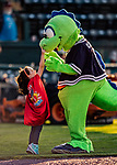 24 August 2019: Vermont Lake Monsters Mascot Champ gets some love from a young fan prior to a game against the Lowell Spinners at Centennial Field in Burlington, Vermont. The Lake Monsters fell to the Spinners 3-2 in NY Penn League action. Mandatory Credit: Ed Wolfstein Photo *** RAW (NEF) Image File Available ***