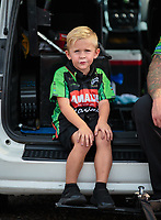 Aug 18, 2018; Brainerd, MN, USA; Cam McMillen, son of NHRA top fuel driver Terry McMillen during qualifying for the Lucas Oil Nationals at Brainerd International Raceway. Mandatory Credit: Mark J. Rebilas-USA TODAY Sports