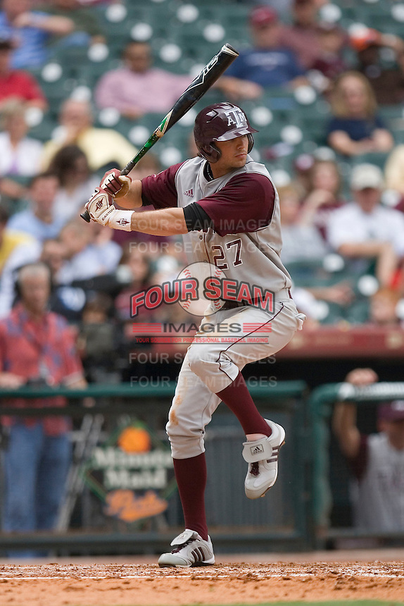 Dylan Petrich #27 of the Texas A&M Aggies at bat versus the UC-Irvine Anteaters in the 2009 Houston College Classic at Minute Maid Park February 27, 2009 in Houston, TX.  The Aggies defeated the Anteaters 9-2. (Photo by Brian Westerholt / Four Seam Images)