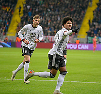 19th November 2019, Frankfurt, Germany; 2020 European Championships qualification, Germany versus Northern Ireland; Germany celebrate their equaliser for 1:1 from Serge Gnabry with Julian Brandt and Jonas Hector