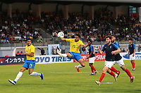 Matheus Cunha of Brazil tries a spectacular shot at the French goal during France Under-18 vs Brazil Under-20, Tournoi Maurice Revello Football at Stade d'Honneur Marcel Roustan on 5th June 2019