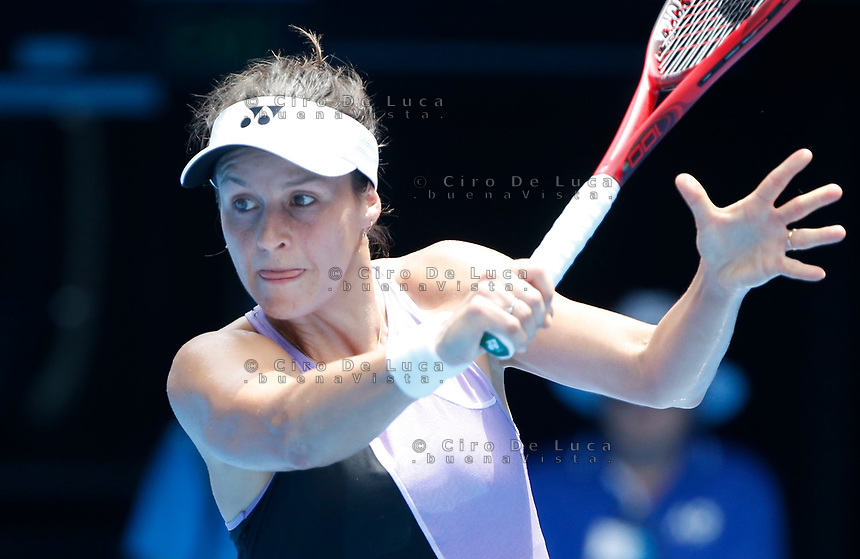15th January 2019, Melbourne Park, Melbourne, Australia; Australian Open Tennis, day 2; Tatjana Maria of Germany rects during the match against Serena Willams of USA
