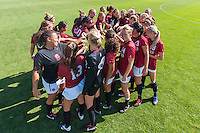 STANFORD, CA - August 31, 2012: The team huddles before the Stanford vs Boston College women's soccer match in Stanford, California. Stanford tied 1-1.