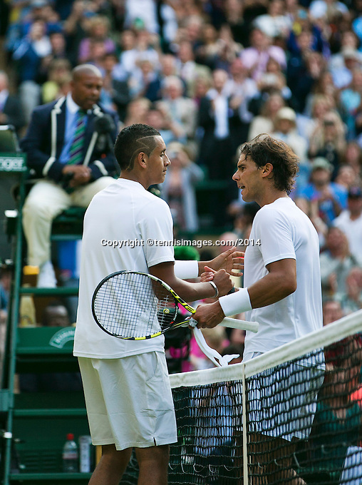 England, London, 28.06.2014. Tennis, Wimbledon, AELTC, Nick Kyrgios (AUS)(L) defeats Rafael Nadal (ESP) <br /> Photo: Tennisimages/Henk Koster