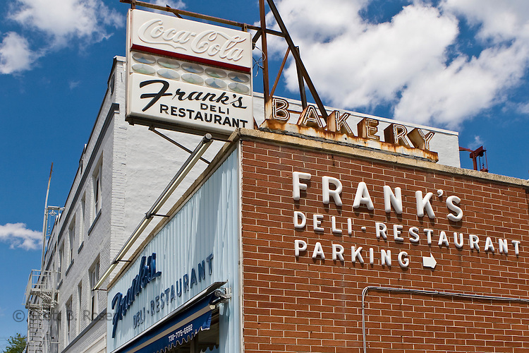 Vintage signage outside Frank's Deli-Restuarant, Asbury Park, New Jersey