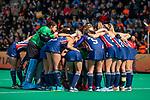ROTTERDAM - Huddle USA tijdens de Pro League hockeywedstrijd dames, Netherlands v USA (7-1)  .  COPYRIGHT  KOEN SUYK