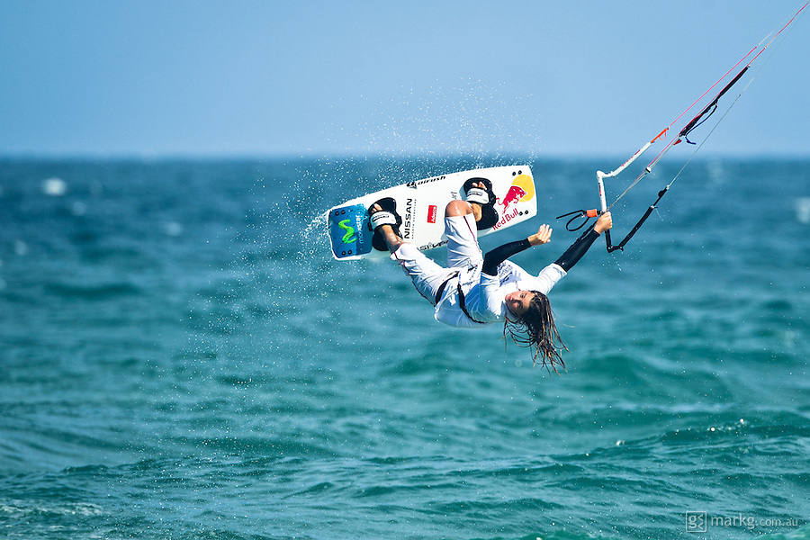 The last leg of the 2010 PKRA World Kiteboarding Tour has come to the Gold Coast, Australia - 2010 Womans World Champion, Gisela Pulido, in action in the final of the womans single elimination freestyle.