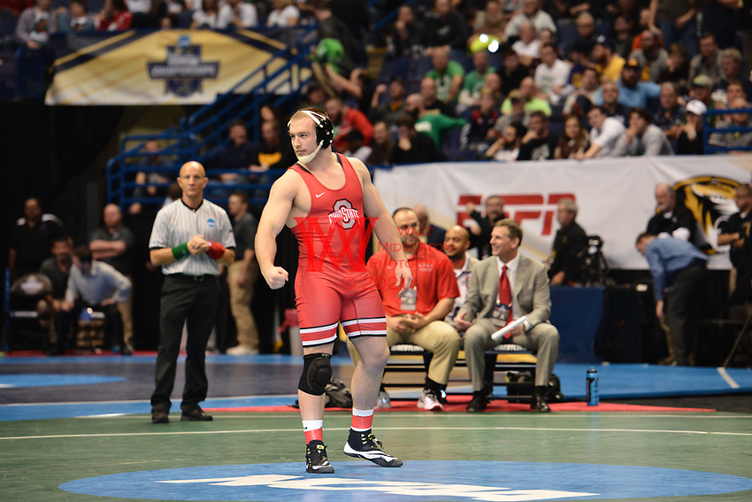 The Ohio State University wrestling team competes on day 2 of the 2017 NCAA National Championships in St. Louis, MO. March 17, 2017