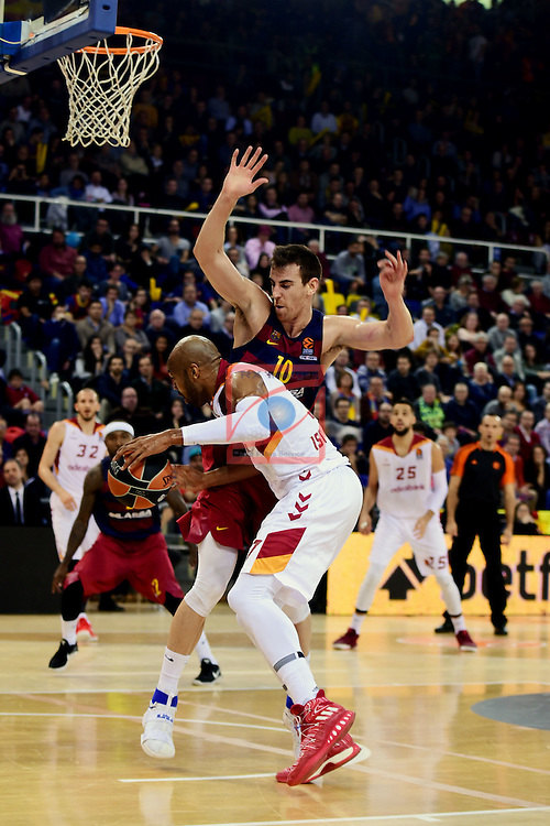 Turkish Airlines Euroleague 2016/2017.<br /> Regular Season - Round 22.<br /> FC Barcelona Lassa vs Galatasaray Odeabank Istanbul: 62-69.<br /> Victor Claver vs Blake Schilb.