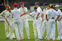 The Governor-General's XI celebrate a wicket during the Governor-General's XI cricket match against Wanderers Cricket Club at the Hawkins Basin Reserve in Wellington, New Zealand on Wednesday, 22 March 2017. Photo: Dave Lintott / lintottphoto.co.nz