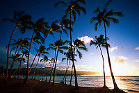 Sunset, Waialua Bay, Haleiwa, north shore of Oahu, Hawaii