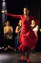 "Edinburgh, UK. 02.08.2016. Alba Flamenca presents the self-titled show, ""Alba Flamenca"", as part of the Edinburgh Festival Fringe.  Picture shows: Gabriela Pouso (front), Maria del Mar Suarez, Inma Montero, Danielo Olivera. Photograph © Jane Hobson."