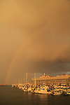 Israel, Tel Aviv-Yafo, a rainbow over Old Jaffa port