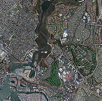 aerial photo map of Newport Beach, Newport Bay, the Santa Ana river, Newport Beach Country Club, Orange county California, 2009