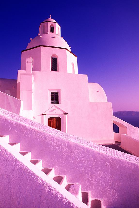 White Dome, Greek church. Santorini, Greece.