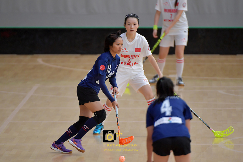 Malaysia's Areena Binti Abdullah in action during the World Floorball Championships 2017 Qualification for Asia Oceania Region - Malaysia v China at ASB Sports Centre , Wellington, New Zealand on Sunday 5 February 2017.<br /> Photo by Masanori Udagawa<br /> www.photowellington.photoshelter.com.