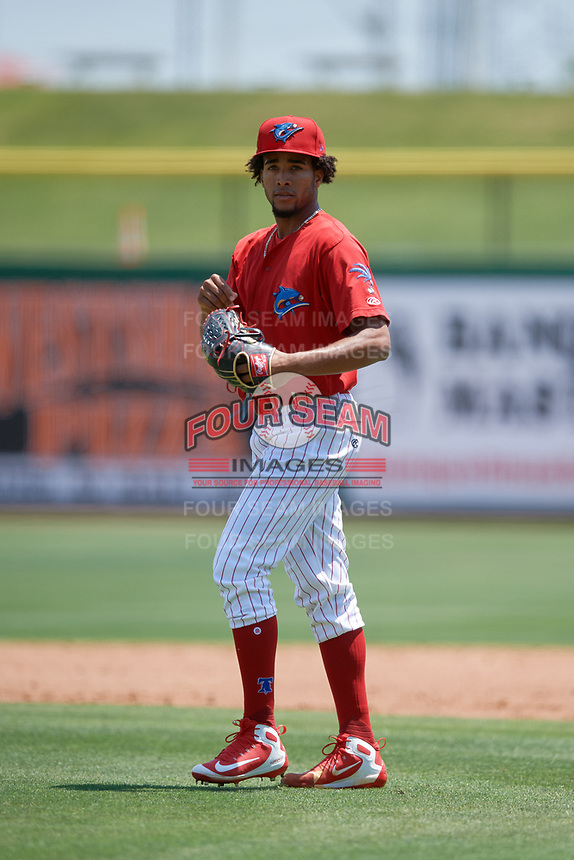 Clearwater Threshers starting pitcher Adonis Medina (18) during a game against the Lakeland Flying Tigers on May 2, 2018 at Spectrum Field in Clearwater, Florida.  Clearwater defeated Lakeland 7-5.  (Mike Janes/Four Seam Images)