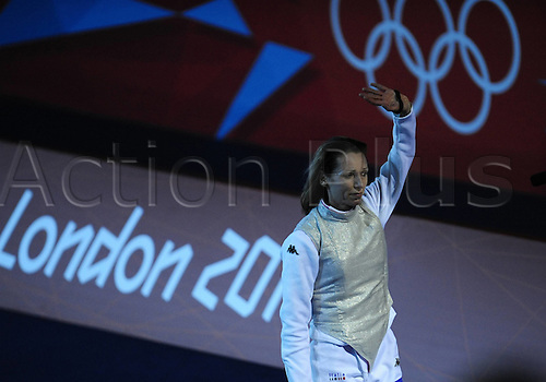 28.07.2012. London, England. Excel Centre. Valentina Vezzali of Italy Celebrates After Winning womens foil Individual Bronze Medal Match of Fencing Against Nam Hyun Hee of South Korea AT The London 2012 Olympic Games