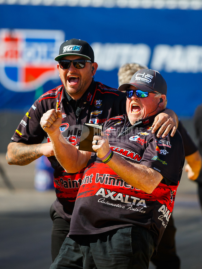 Feb 26, 2017; Chandler, AZ, USA; Crew members for NHRA pro stock driver Drew Skillman celebrate during the Arizona Nationals at Wild Horse Pass Motorsports Park. Mandatory Credit: Mark J. Rebilas-USA TODAY Sports