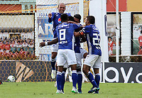 IPIALES- COLOMBIA,18-05-2019:Felipe Roman  jugador del  Millonarios celebra después de anotar un gol al Deportivo Pasto durante el tercer  partido de los cuadrangulares finales de la Liga Águila I 2019 jugado en el estadio Municipal de Ipiales de la ciudad de Ipiales. /Felipe Roman player of  Millonarios celebrates after scoring a goal agaisnt of Deportio Pasto during the third match for the quarter finals B of the Liga Aguila I 2019 played at the Municipal de Ipiales stadium in Ipiales city. Photo: VizzorImage / Leonardo Castro / Contribuidor