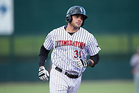 Brandon Dulin (31) of the Kannapolis Intimidators rounds the bases after hitting a home run against the Hagerstown Suns at Kannapolis Intimidators Stadium on June 14, 2017 in Kannapolis, North Carolina.  The Intimidators defeated the Suns 10-1 in game two of a double-header.  (Brian Westerholt/Four Seam Images)
