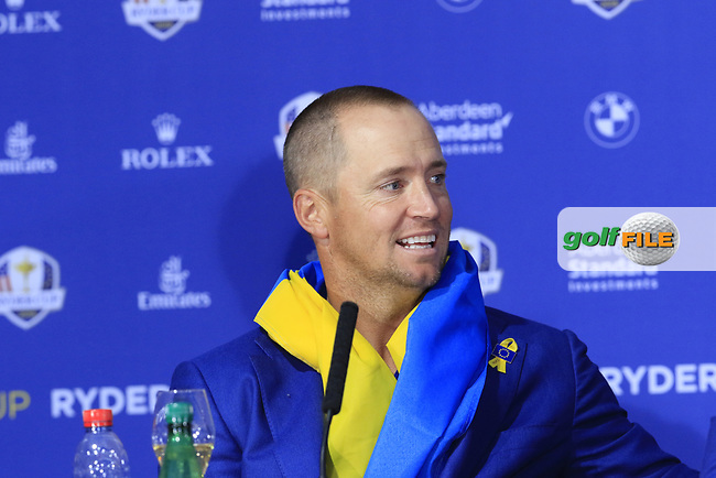 Alex Noran (Team Europe) at the press conference after Europe win the Ryder Cup 17.5 to 10.5 at the end of Sunday's Singles Matches at the 2018 Ryder Cup 2018, Le Golf National, Ile-de-France, France. 30/09/2018.<br /> Picture Eoin Clarke / Golffile.ie<br /> <br /> All photo usage must carry mandatory copyright credit (© Golffile | Eoin Clarke)